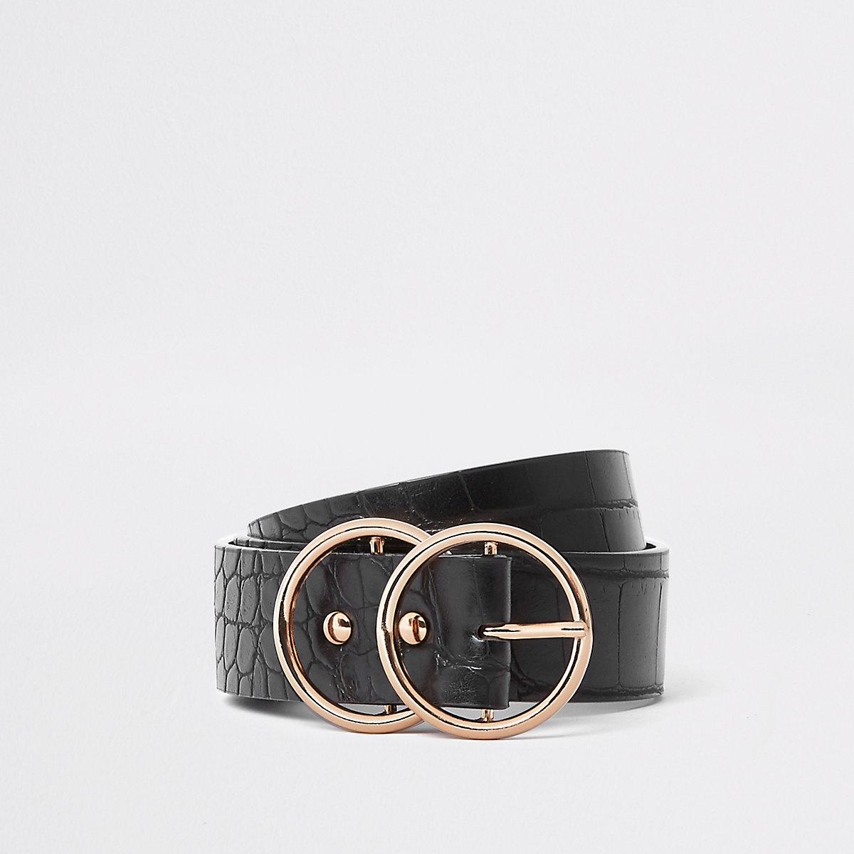Zwarte riem met dubbele ring en krokodillenprint in reliëf