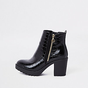 Bottines grain croco noires épaisses