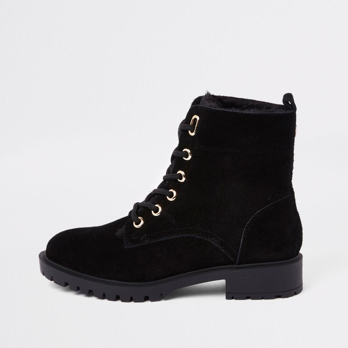 Black faux fur lined lace-up ankle boots