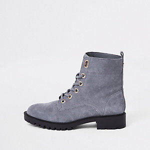 Grey suede lace-up ankle boots