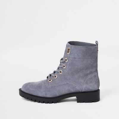 Grey Suede Lace Up Hiking Boots by River Island