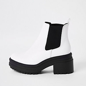 Witte stevige chelsea boots