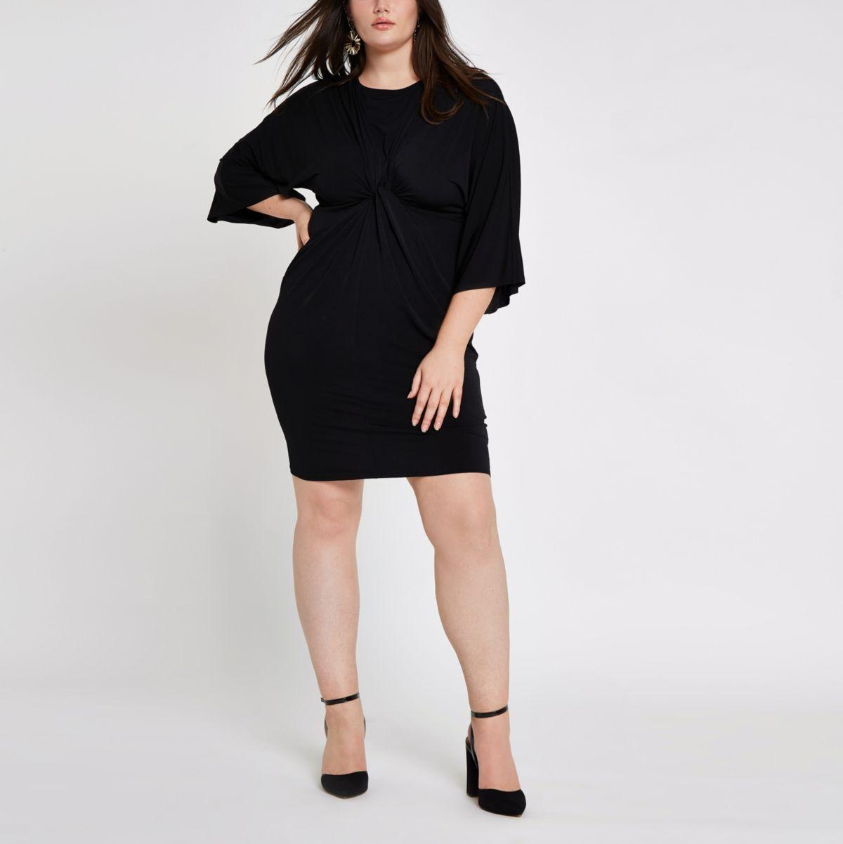 Plus black long sleeve knot front dress