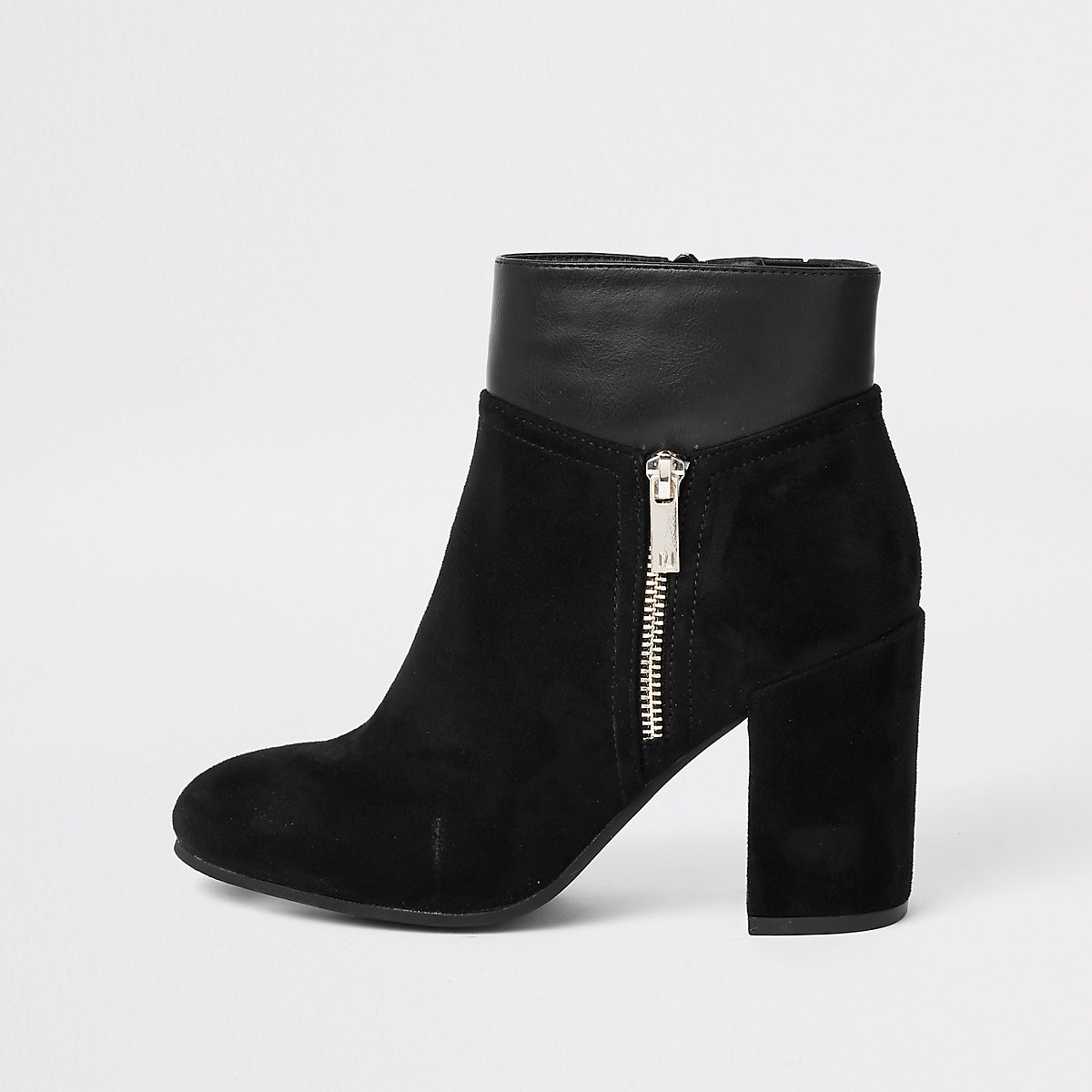 Black block heel boot