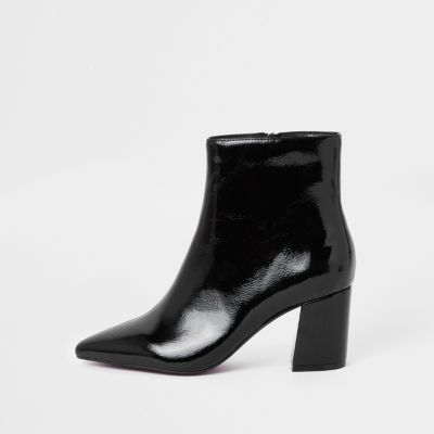 Black Patent Pointed Block Heel Boots by River Island