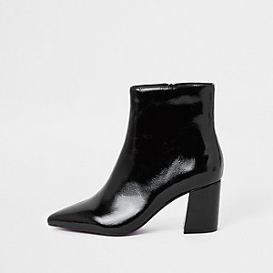 Black patent pointed block heel boots