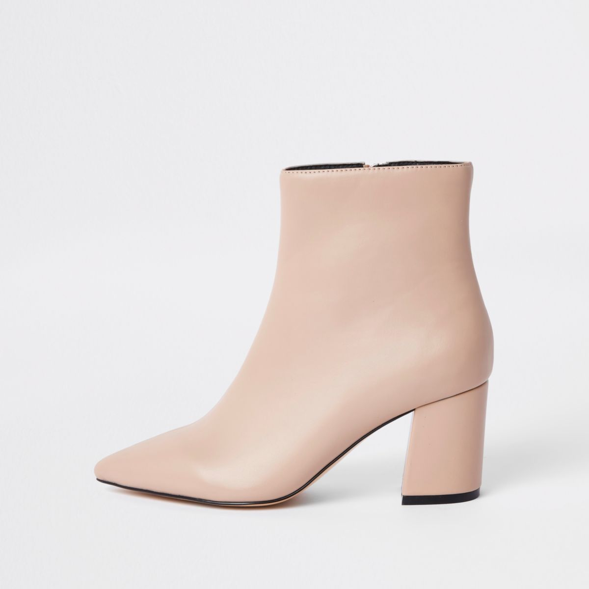 Pink pointed block heel boots