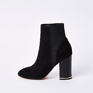 Black suede elasticated boots