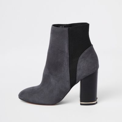 Grey Elastic Ankle Boots by River Island