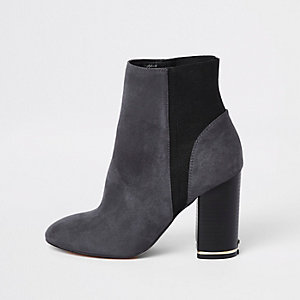 Grey elastic ankle boots