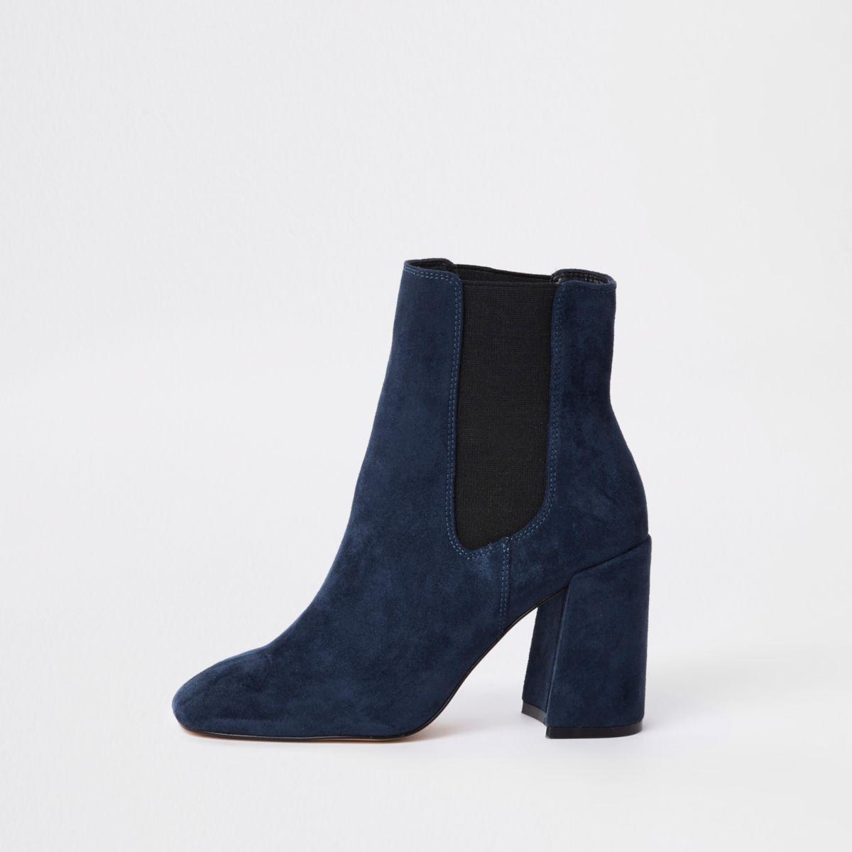 Navy faux suede block heel boots