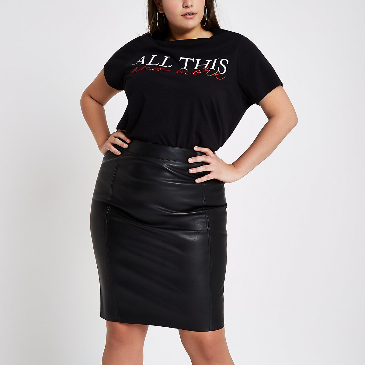 Plus black faux leather pencil skirt