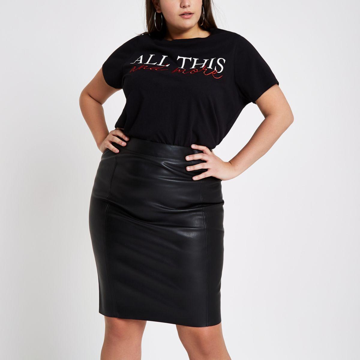 Plus black faux leather pencil skirt