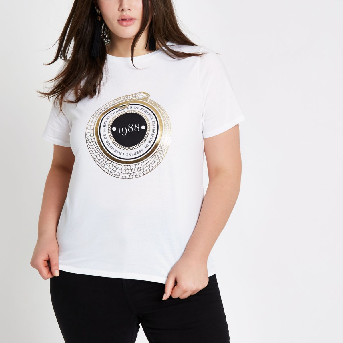 Plus white '1988' short sleeve T-shirt
