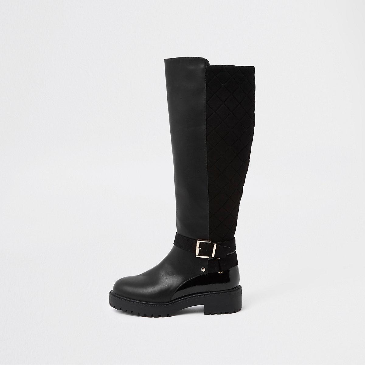 Zwarte gewatteerde kniehoge laarzen