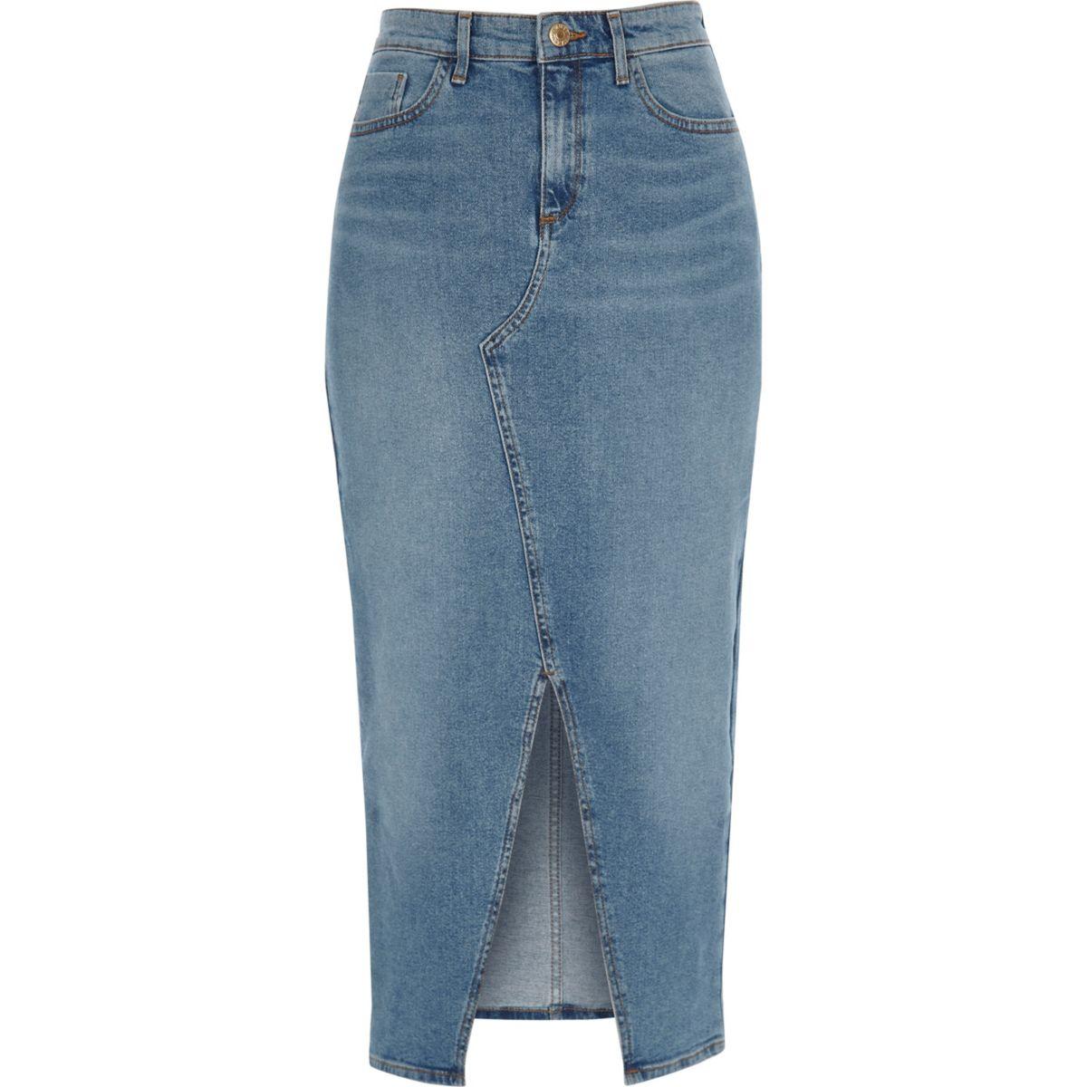 front pencil skirt denim split longline Blue 6wqR5vOR