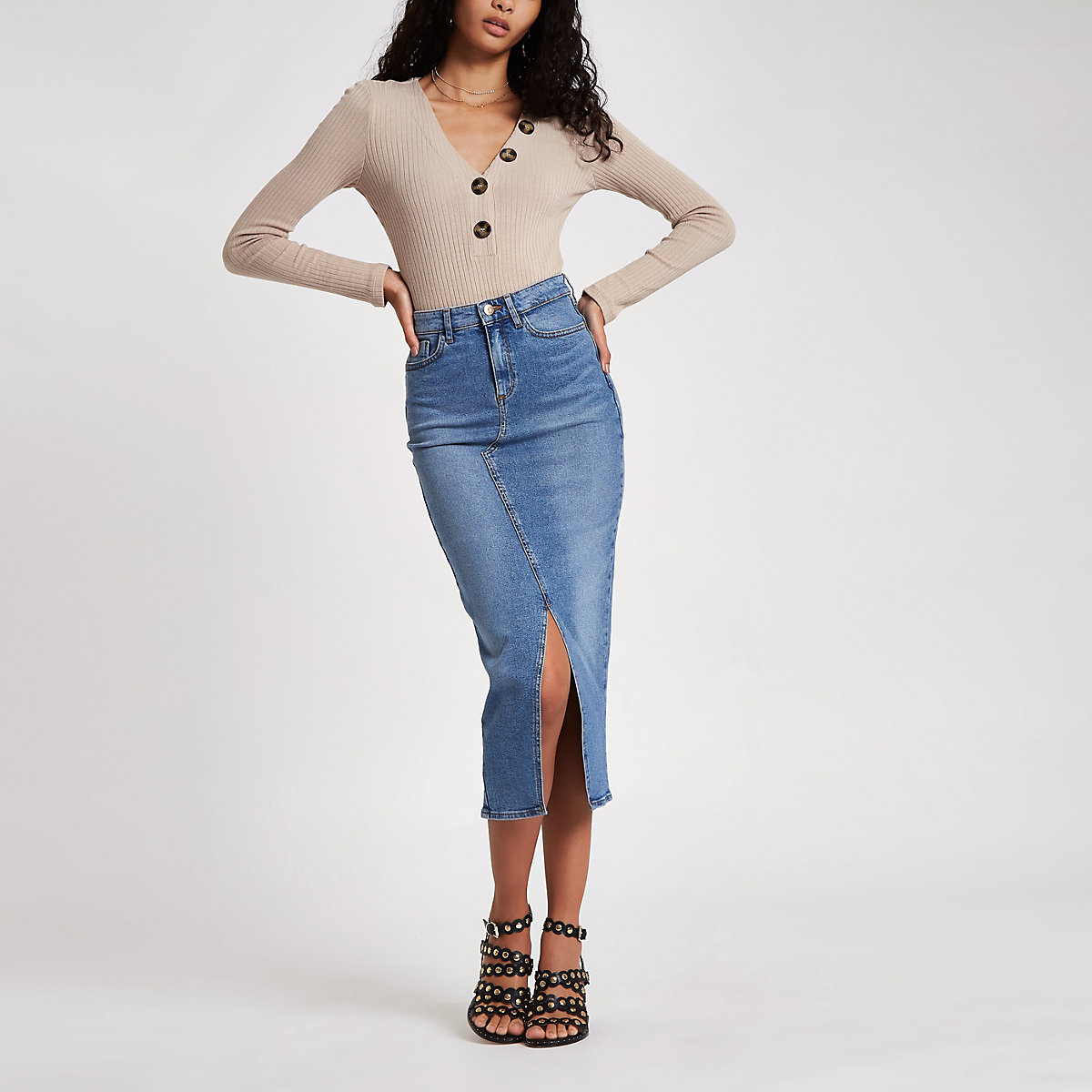 Blue split front denim longline pencil skirt
