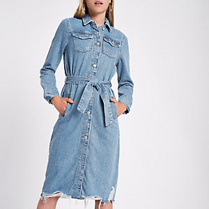 Denim longline tie waist shirt dress