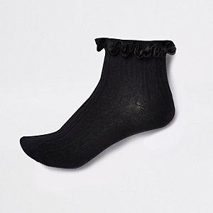 Black velvet cable knit frill ankle socks