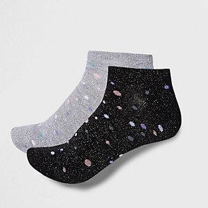 Silberne, gepunktete Sneaker-Socken, Set