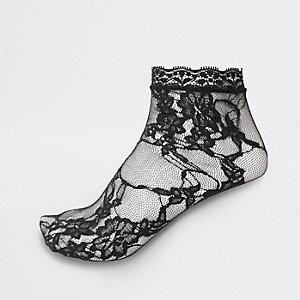 Schwarze Sneakersocken aus Spitze