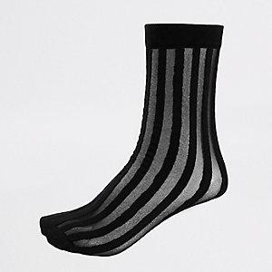 Schwarze Sneakersocken mit transparenten Streifen