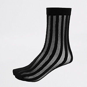 Black sheer stripe ankle socks