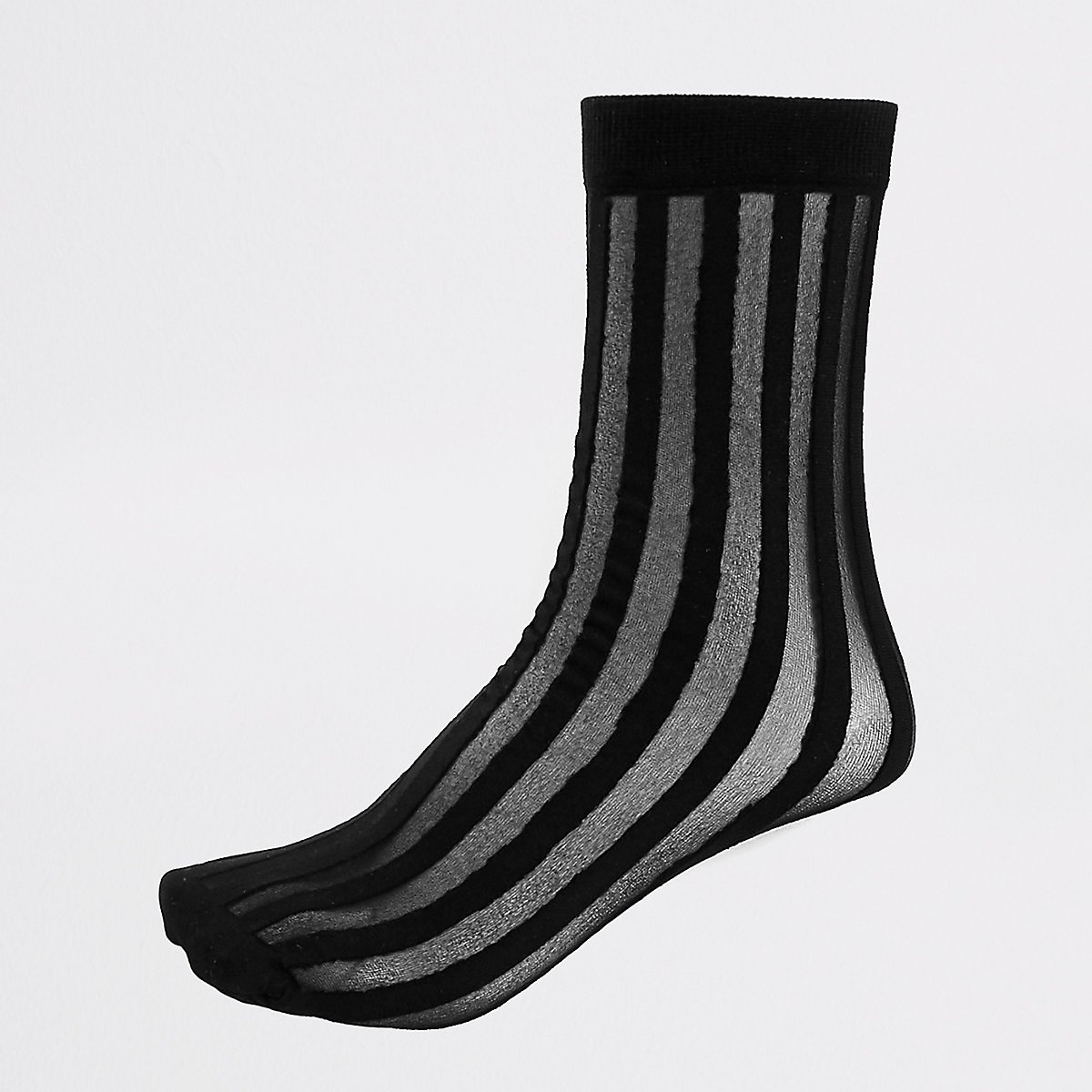 Black sheer stripe ankle socks
