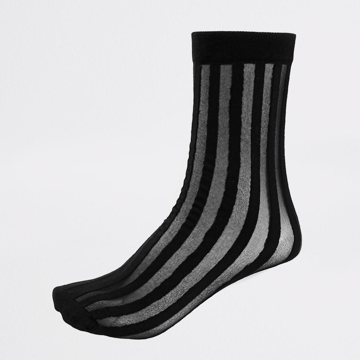 Zwarte doorschijnende sokken met strepen