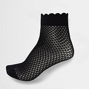 Schwarze Sneakersocken mit Bogensaum