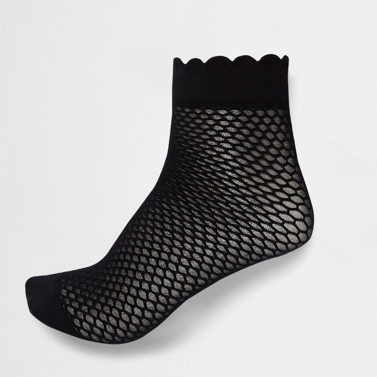 Zwarte sokken met geschulpte rand