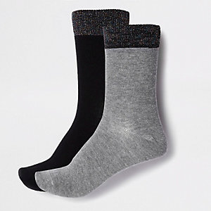 Grey glitter ankle socks multipack