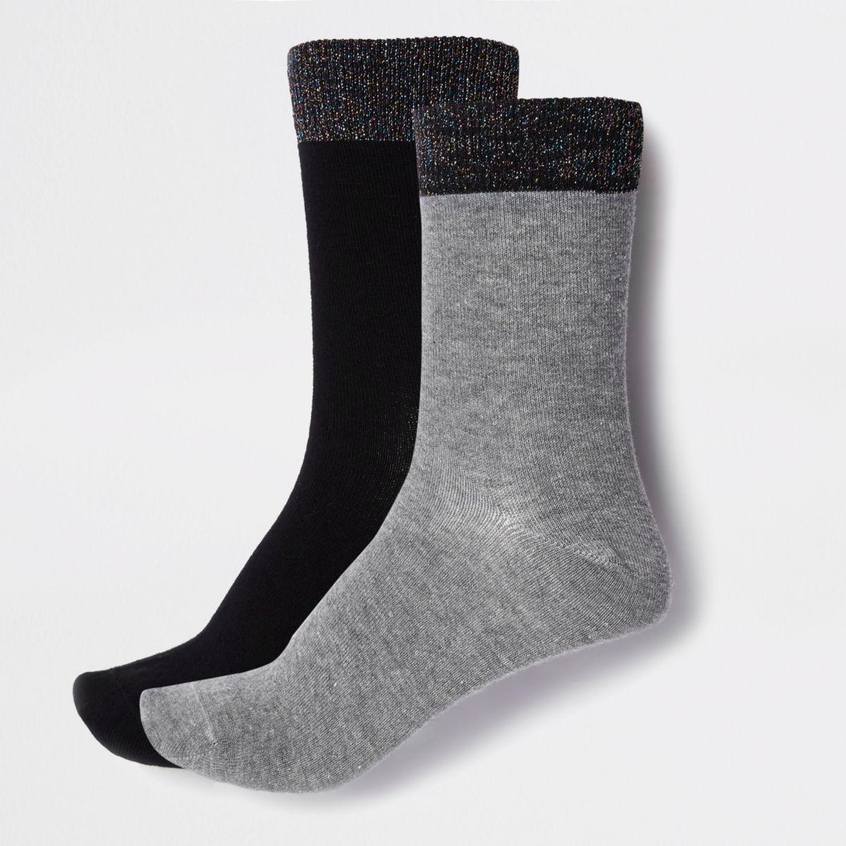Grey glitter ankle socks multipack