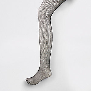 Black gem embellished fishnet tights