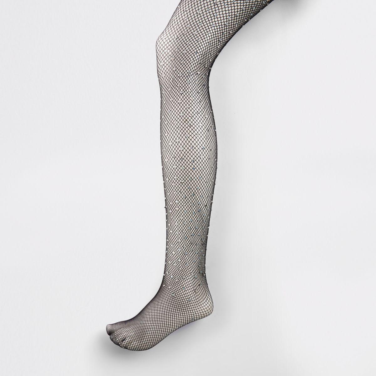 Black gem embellished fishnet tights