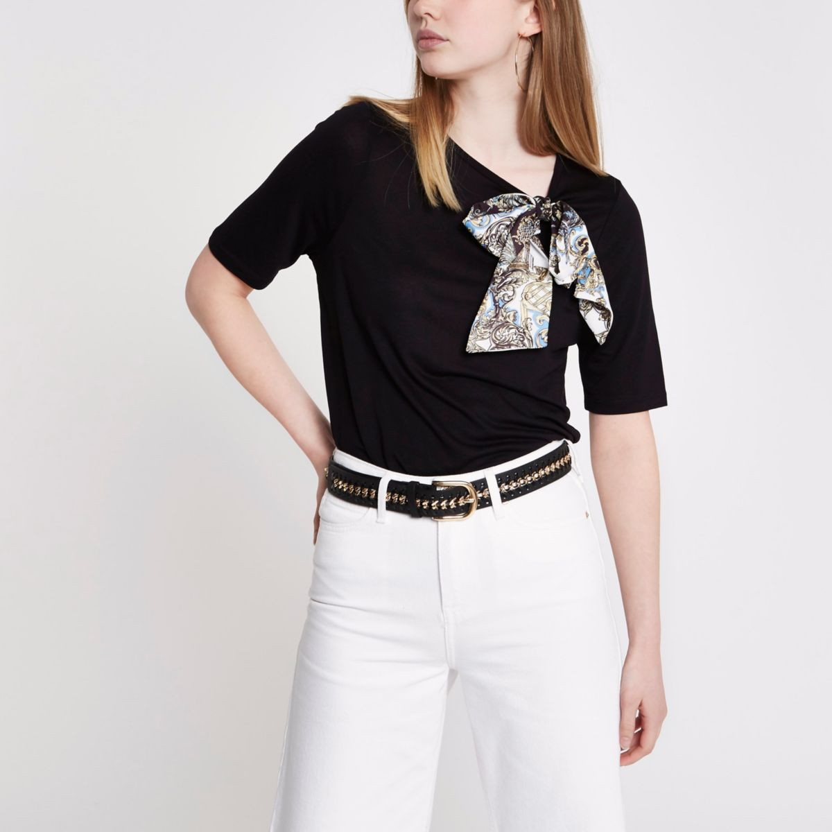 Black bird print bow detail T-shirt
