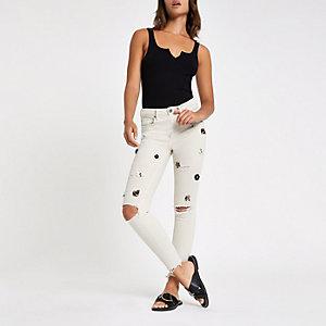 Amelie – Graue, verzierte Skinny Jeans