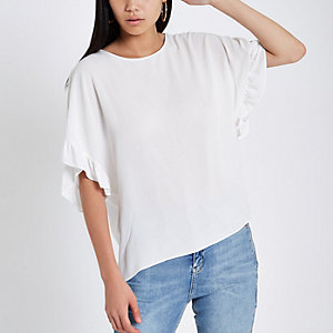 Cream frill sleeve T-shirt