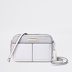 Grey tassel boxy cross body bag