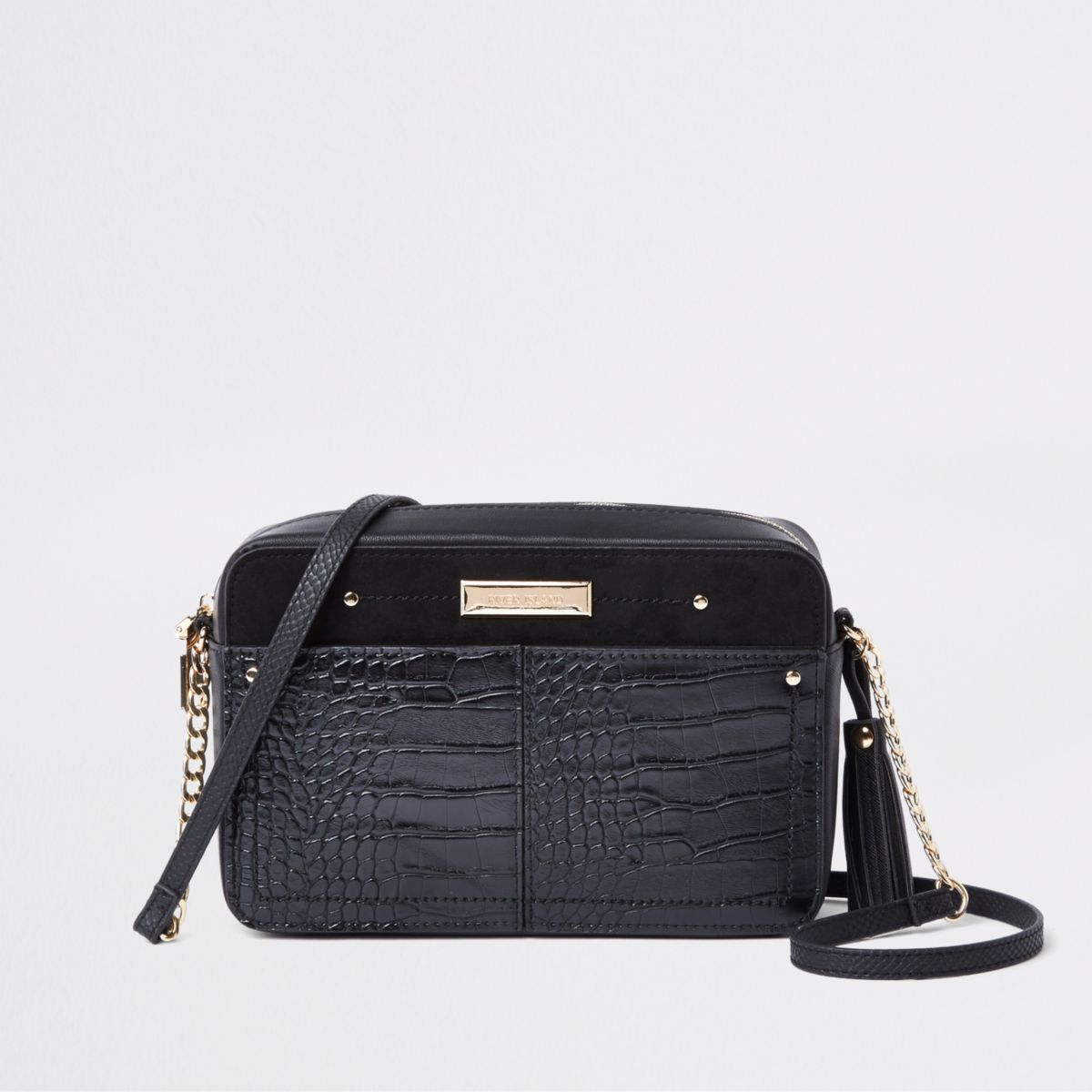 Black Croc Embossed Boxy Cross Body Bag by River Island
