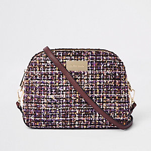 Purple boucle cross body bag
