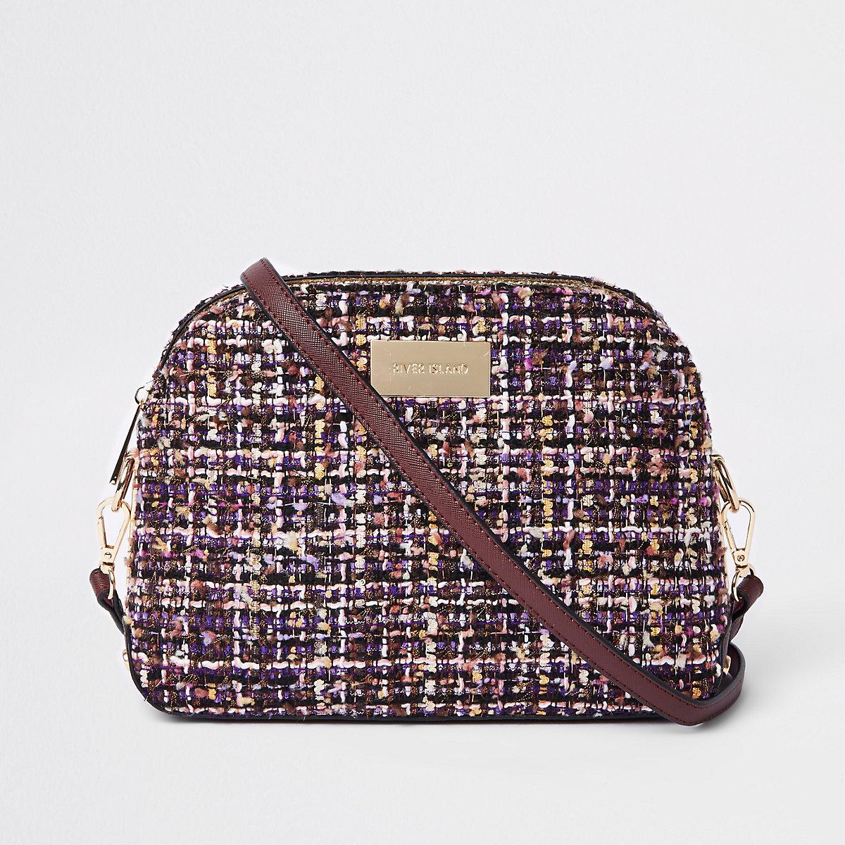 Purple boucle cross body bag