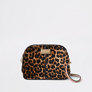 Brown leopard print kettle cross body bag