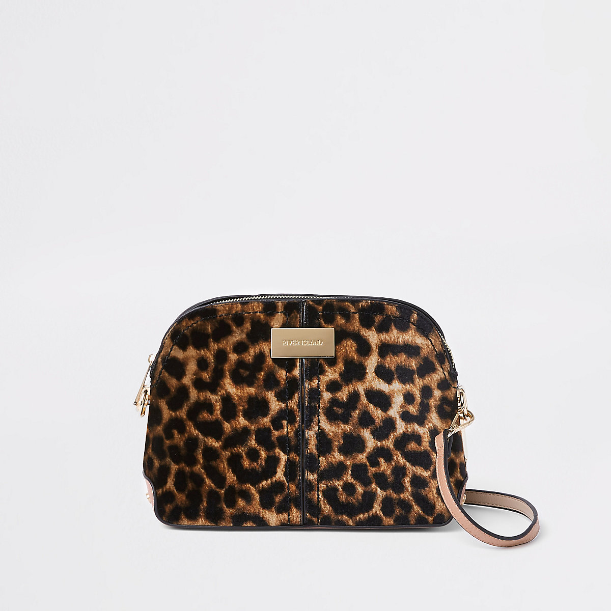 Braune Umhängetasche mit Leopardenprint
