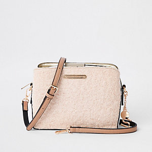 Beige fleece bucket cross body bag