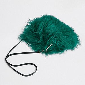 Sac à bandoulière en fourrure de Mongolie vert foncé