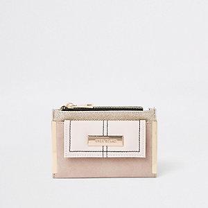 Mini porte-monnaie pailleté beige clair à rabat