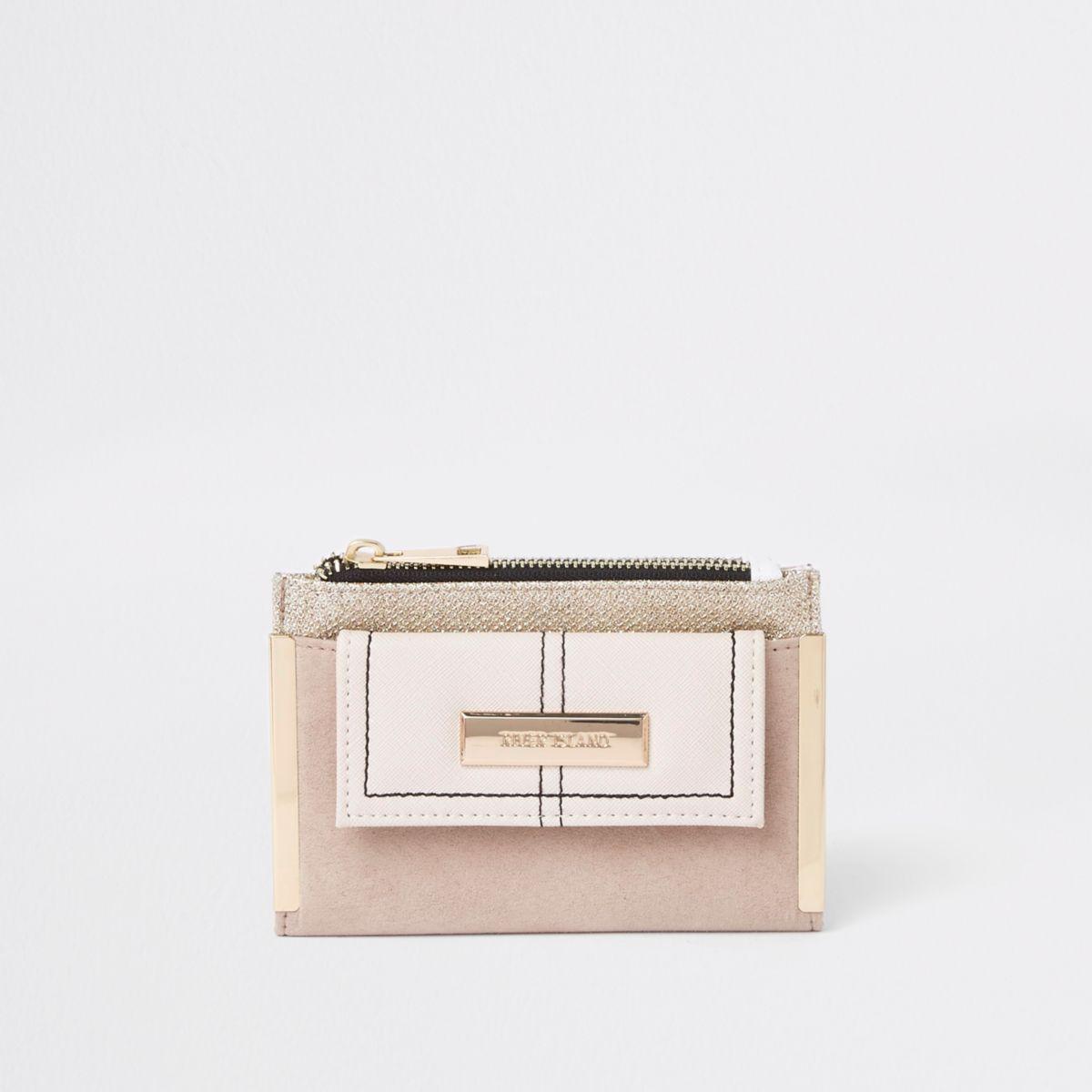 Light beige mini foldout glitter purse