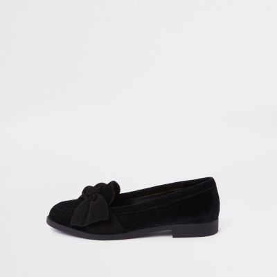 Black Faux Suede Bow Loafers by River Island