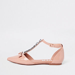 Pink jewel pointed strappy shoes
